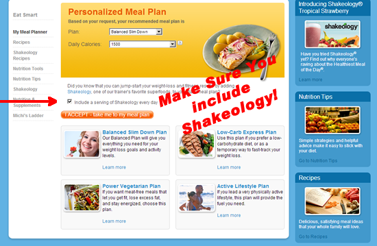 Choose Shakeology with your Meal Planner